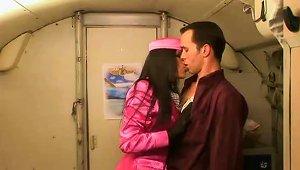 Sexy Stewardess On Her Knees Sucking Dick