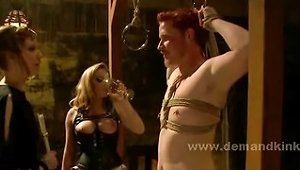 Two Slaves Tought By Busty Delicious Blonde Mistress How To Behav
