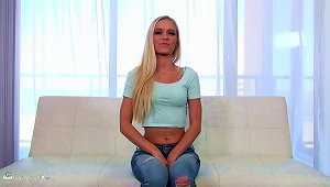 Sexy Teen Blonde Has Her First Hardcore Experience In A Casting Video