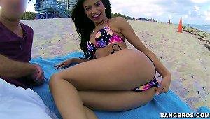 Veronica Rodriguez In Bikini Gives A Big Cock Hardcore Blowjob Outdoor