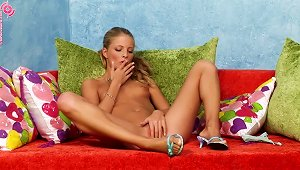 Fair-haired Hottie Fucks Her  With Two S