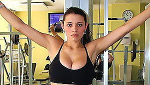 Hardcore Gym Action A  Hot Brunette