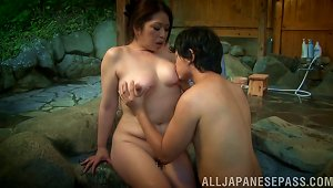 At A Resort An Asian Couple Goes Outside To Bathe And Fuck