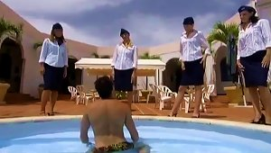 Kinky Girls In Stewardess Uniform Have Wild Sex By The Pool